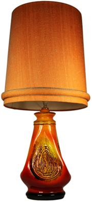 Sale 8065 - Lot 16 - Ellis Pottery Orange Glaze Thumb Print Lamp
