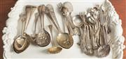 Sale 8470H - Lot 68 - A quantity of assorted patterned cutlery including berry spoons, sugar sifters, pastry forks etc
