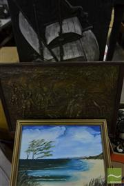Sale 8495 - Lot 2085 - 3 Artworks Comprising a Wooden Relief of a Ship, Framed Acrylic Painting & a Composite Work of a Military Scene
