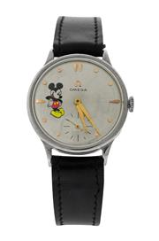 Sale 8522A - Lot 16 - A vintage Omega manual wind wristwatch with painted Mickey Mouse dial in stainless steel case, 31 mm, running.