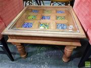 Sale 8550 - Lot 1457 - Indian Style Side Table with Glass Top & Inlaid Tiles