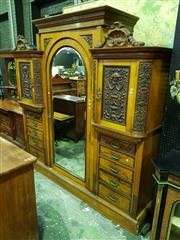 Sale 8653 - Lot 1020 - Late Victorian Impressive Ash & Carved Walnut Breakfront Wardrobe, by G. Batholomew & Co, Finsbury London (plaque in centre section)...