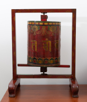 Sale 8677B - Lot 875 - A Chinese red and gilt painted spinning meditation wheel on stand  , H x 67cm, W x 54cm, D x 35cm