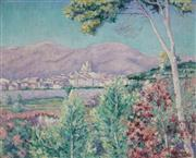 Sale 8858 - Lot 562 - Abel George Warshawsky (1883 - 1962) - Mountain & Township Southern California 64 x 80 cm