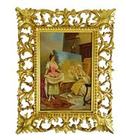 Sale 8912H - Lot 55 - Antique 19th C Italian interior scene oil on panel unsigned, framed in a hand carved water gilt Florentine frame. Panel size: 29 x 2...