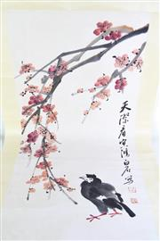 Sale 8968 - Lot 30 - A Chinese scroll Featuring Flowers and Black Bird