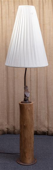 Sale 8984H - Lot 3 - A Wombat Hollow standard lamp with bootmakers last mounted on rounded Australian hardwood beam, fitted with a pleated calico half s...