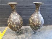 Sale 9009 - Lot 1002 - Pair of Large Decorative Vases on Metal Stands (h:112cm)