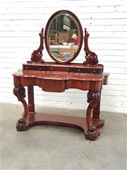 Sale 9085 - Lot 1045 - Victorian Mahogany Dressing Table, with oval mirror, raised platform with three trinket drawers, a frieze drawer & cabriole legs joi...