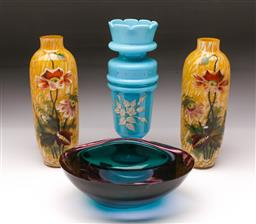 Sale 9098 - Lot 366 - Pair of Yellow Floral Vases together with a Footed Blue Example & Glass Bowl