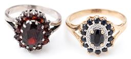 Sale 9124 - Lot 351 - TWO GEMSET CLUSTER RINGS, one in 9ct set with an oval and round cut dark blue sapphires and round brilliant cut diamonds, size O, wt...