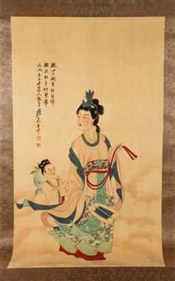 Sale 9119 - Lot 59 - A Chinese scroll featuring lady and child L:200cm W:75cm