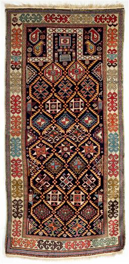 Sale 9130S - Lot 23 - An antique Caucasian Akstafa woven prayer rug with blue red and orange border laid on silk stretched canvas   Frame size 189cm x 9...
