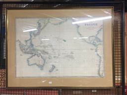 Sale 9130 - Lot 2094 - A handcoloured Map of the Pacific by Jason Wyld, frame: 76 x 101 cm, signed lower right