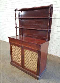Sale 9162 - Lot 1029 - Regency mahogany chiffonier, with triple shelf back on turned supports, above a long drawer & two brass grill doors, raised on plint...