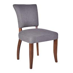Sale 9245T - Lot 98 - A set of eight grey linen dining chairs with maron coloured timber legs. Dimensions: H 91 x W 52 x D 62cm