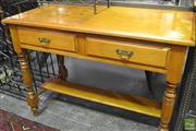 Sale 8341 - Lot 1045 - Tiered Timber Hall Table with Two Drawers
