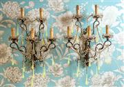 Sale 8577 - Lot 8 - A rare antique pair of Venetian five branch giltwood sconces, with green opaline vaseline glass dragon tears and rock crystal beaded...