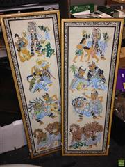 Sale 8622 - Lot 2098 - Pair of Balinese School Paintings, 86.5 x 32 (frame size), each signed lower