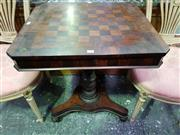 Sale 8653 - Lot 1036 - Victorian Yewwood & Simulated Rosewood Chess Table, the rectangular top with chessboard & crossbanding with matching frieze, on turn...