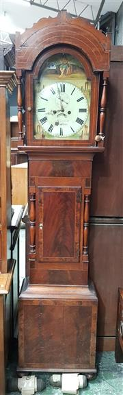 Sale 8714 - Lot 1027 - Early 19th Century Mahogany & Inlaid Longcase Clock, signed Meredith , the dial with date aperture, painted with a musician and ruin...