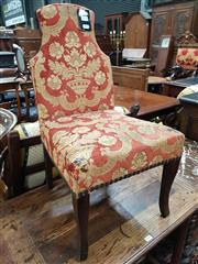 Sale 8774 - Lot 1070 - Antique Style Childs Chair, with shaped back in orange cut-moquette velvet and cabriole legs (upholstery damaged)