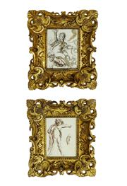 Sale 8912H - Lot 54 - A pair of 18thC French ink and wash drawings framed in 18th C hand carved giltwood frames. Image sizes: 19 x 15 cm