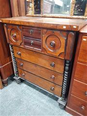 Sale 8925 - Lot 1004 - A walnut veneered 19th century chest of seven drawers, possibly scottish