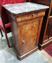 Sale 8939 - Lot 1092 - 19th Century French Walnut Bedside Cabinet, with black marble top, a drawer & panel door. H: 76 x W: 42 x D: 35 cm