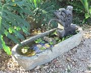 Sale 9080G - Lot 3 - Antique 18th Century English Carved Stone Water Trough With Antique Terracotta Dragon Statue For Water Feature. General Wear,Chippin...