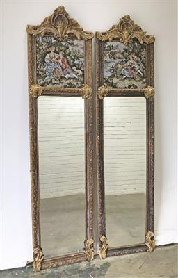 Sale 9102 - Lot 1007 - Pair of French style mirrors w fabric panels (h:210 x w:52cm)