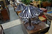 Sale 8046 - Lot 1083 - Two Pairs Of Leadlight Shade Table Lamps
