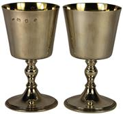 Sale 8057 - Lot 19 - English Hallmarked Sterling Silver Elizabeth II Pair of Goblets