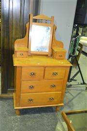 Sale 8165 - Lot 1052 - Edwardian Pine Six Drawer Dressing Chest with Unattached Mirror