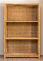 Sale 8259A - Lot 32 - A Caned Open Set of Shelves , fitted with three shelves
