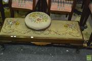 Sale 8337 - Lot 1017 - Tapestry Top Long Foot Stool & a Smaller Round Example