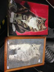 Sale 8663 - Lot 2085 - Alexander McNulty (2 works): Cats, watercolour, framed/various sizes Cats, unsigned