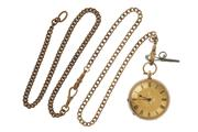 Sale 8721 - Lot 350 - AN ANTIQUE 14CT GOLD OPEN FACE LADYS POCKET WATCH; 2 tone decorative dial, Roman numerals, key wind and set, finely engraved case w...