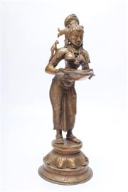 Sale 8715 - Lot 48 - A Bronze Oriental Figure Holding A Bowl ( H 30cm)