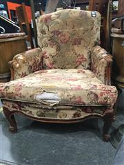 Sale 8774 - Lot 1005 - French Carved Walnut Armchair, with enclosed arms and cabriole legs (distressed fabric).