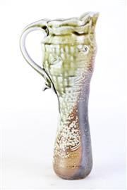 Sale 8851P - Lot 23 - Elongated Glazed Studio Pottery Jug with Handle, marked to side, height 28cm