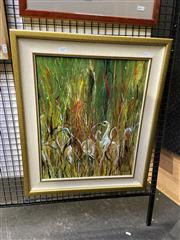 Sale 8910 - Lot 2035 - Gerry Davis - Ibis in the Grass, acrylic on canvas on board, 64.5 x 53.5 cm, signed lower right