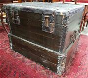 Sale 8956 - Lot 1061 - Large Chinese Pine & Iron Bound Chest, with lockable latches & articulated base (H:79 x W:102 x D:78cm)