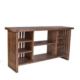 Sale 9140F - Lot 59 - Contemporary old fir wood console with shelving in natural brown. Dimensions: W152 x D43 x H80 cm
