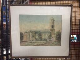 Sale 9130 - Lot 2082 - Artist Unknown (early 20th century)  Melbourne Cathedral watercolour, frame: 51 x 60 cm,