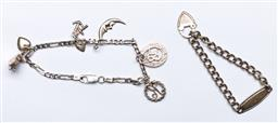 Sale 9144 - Lot 210 - An Early Sterling Silver Babies Padlock Curb Link Bracelet , Marked St Silver, together with another - comb wt 16.25g