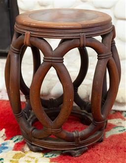 Sale 9164H - Lot 48 - A timber drum stool with rope effect design, Height 43cm x Diameter 32cm