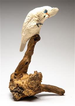 Sale 9209V - Lot 95 - A ceramic corella mounted on a burr knotted branch (H:43cm)
