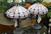 Sale 8046 - Lot 1042 - Two Pairs Of Leadlight Shade Table Lamps
