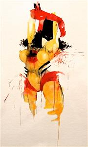 Sale 8350E - Lot 46 - Anthony Lister (1979 - ) - Bat Web Girl 34 x 24cm (frame size 50 x 40cm)